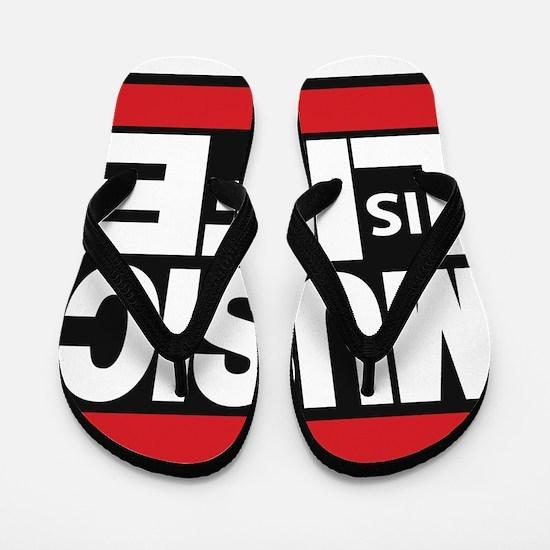 music life red Flip Flops