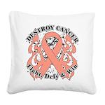Destroy Uterine Cancer Square Canvas Pillow