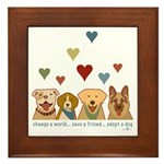 Adopt-A-Dog-Hearts Framed Tile