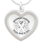 Destroy Mesothelioma Cancer Silver Heart Necklace