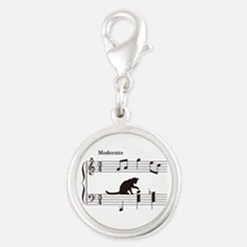 Cat Toying with Note v.2 Silver Round Charm