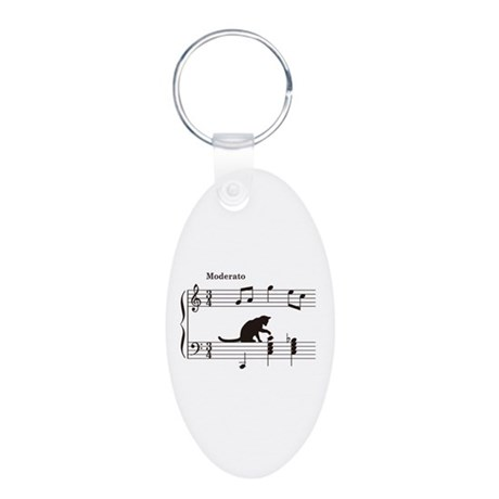 Cat Toying with Note v.2 Aluminum Oval Keychain
