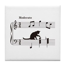 Cat Toying with Note v.2 Tile Coaster