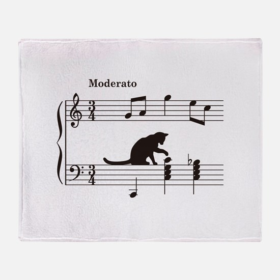 Cat Toying with Note v.2 Throw Blanket