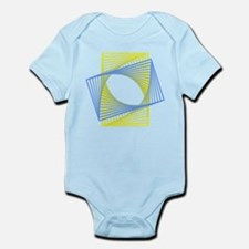 Geometric Fractal in Blue Yellow Body Suit