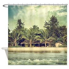 Vintage Beach Photo Shower Curtain