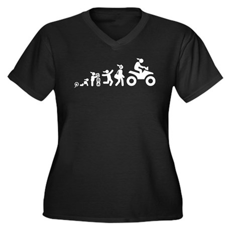 ATV Riding Women's Plus Size V-Neck Dark T-Shirt