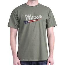 Vintage MERICA US Flag Style Swoosh T-Shirt