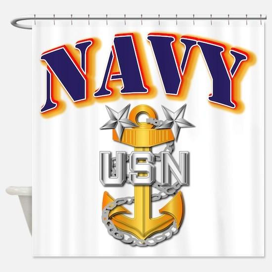 Navy - NAVY - MCPO Shower Curtain
