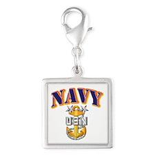 Navy - NAVY - MCPO Silver Square Charm