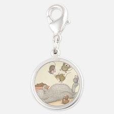 Kitty Trampoline Silver Round Charm