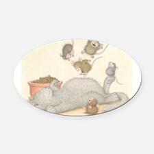 Kitty Trampoline Oval Car Magnet