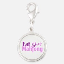 Eat Sleep Mahjong Silver Round Charm