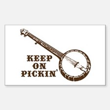 Banjo Keep on Pickin' Rectangle Decal