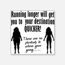 "running-longer.png Square Sticker 3"" x 3"""
