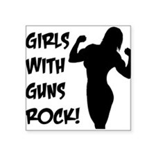 "girls-with-guns-rock.png Square Sticker 3"" x 3"""