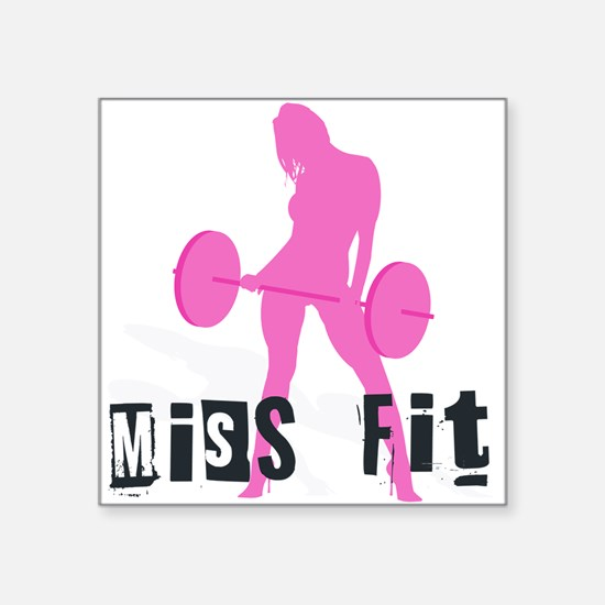 "Missfit_barbell.png Square Sticker 3"" x 3"""