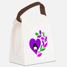 Penguin Heart Canvas Lunch Bag