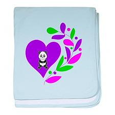 Panda Heart baby blanket