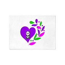 Panda Heart 5'x7'Area Rug