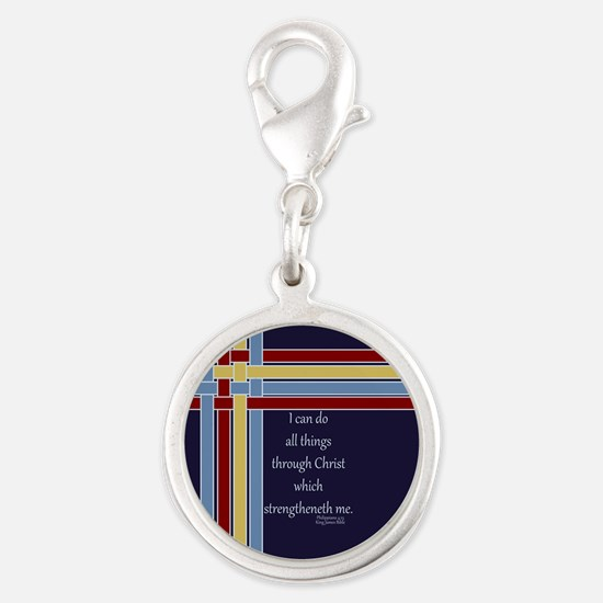 Philippians 4 13 Ribbons Blue Silver Round Charm