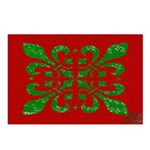 Fleur De Lis Red and Green Christmas Postcards (8)