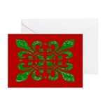 Fleur De Lis Green on Red Christmas Cards (6)
