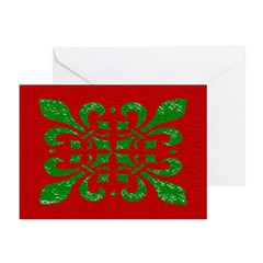 Fleur De Lis Green on Red Christmas Cards (6)