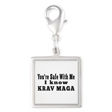 I Know Krav Maga Silver Square Charm