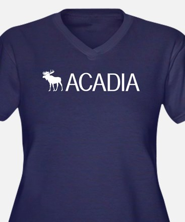 Acadia Moose Women's Plus Size V-Neck Dark T-Shirt
