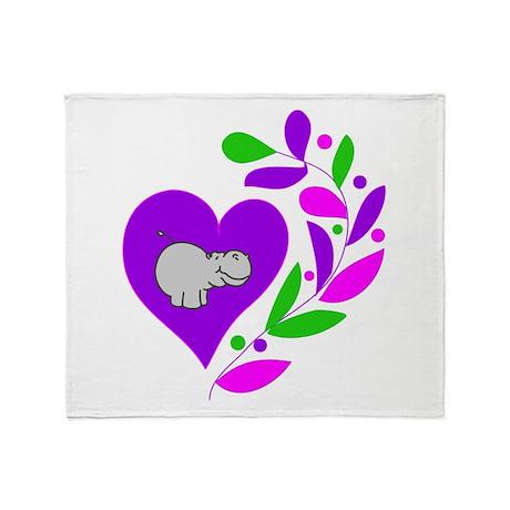 Hippo Heart Throw Blanket