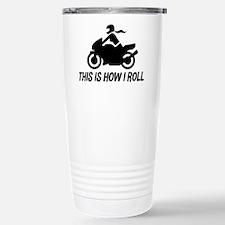 Female Motorcyclist Stainless Steel Travel Mug