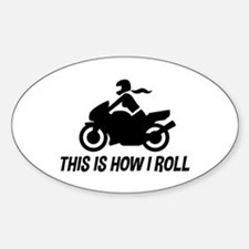Female Motorcyclist Sticker (Oval)