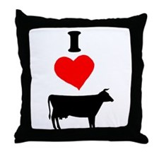 I heart Cow Throw Pillow