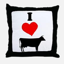 I heart Cow Throw Pillow