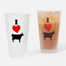 I heart Cow Drinking Glass