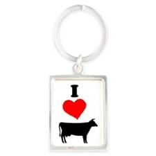 I heart Cow Portrait Keychain