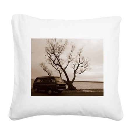 Vanagon by the Lake Square Canvas Pillow