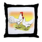 White Leghorn Chickens Throw Pillow