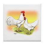 White Leghorn Chickens Tile Coaster