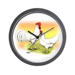 White Leghorn Chickens Wall Clock