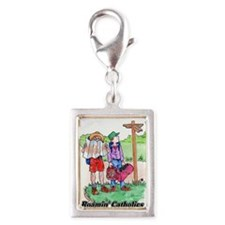 Cute Rosary beads Silver Portrait Charm