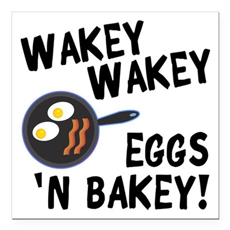 "Bacon And Eggs Square Car Magnet 3"" x 3"""