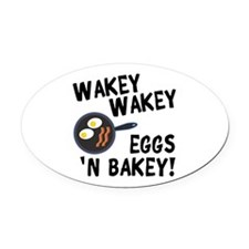 Bacon And Eggs Oval Car Magnet