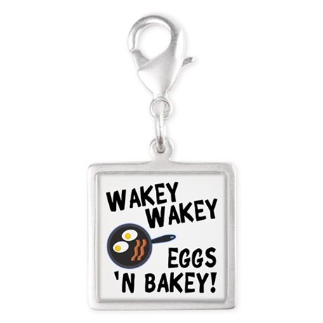 Bacon And Eggs Silver Square Charm