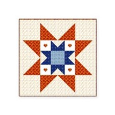 Heart Star Quilt Block Rectangle Sticker