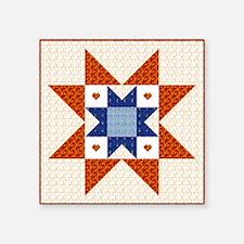 Heart Star Quilt Block Rectangle Sticker