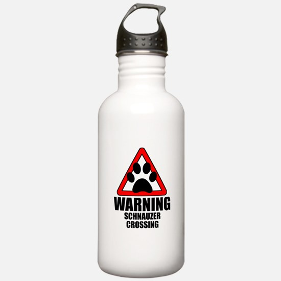 Schnauzer Warning Water Bottle