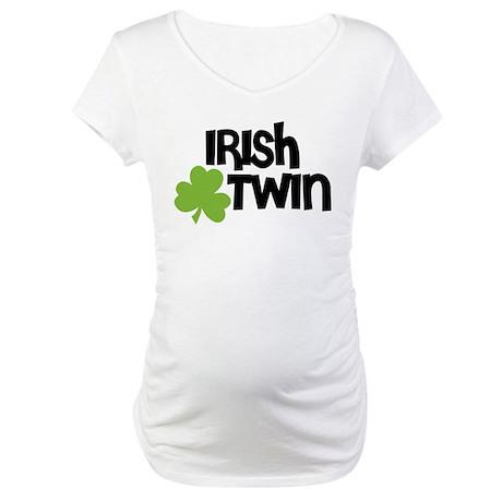 Irish Twin Shamrock Maternity T-Shirt