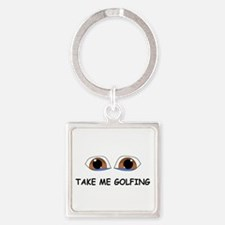 Take Me Golfing Square Keychain